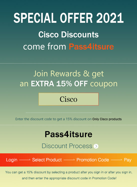 Pass4itsure Cisco dumps discount Code 2021